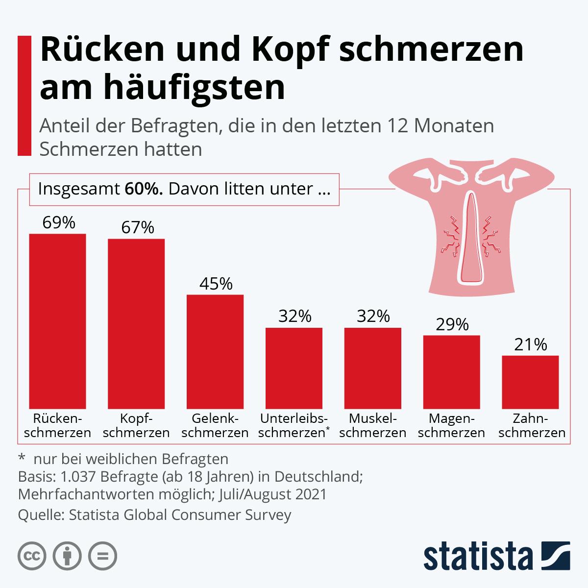 Infografik: Rücken und Kopf schmerzen am häufigsten | Statista