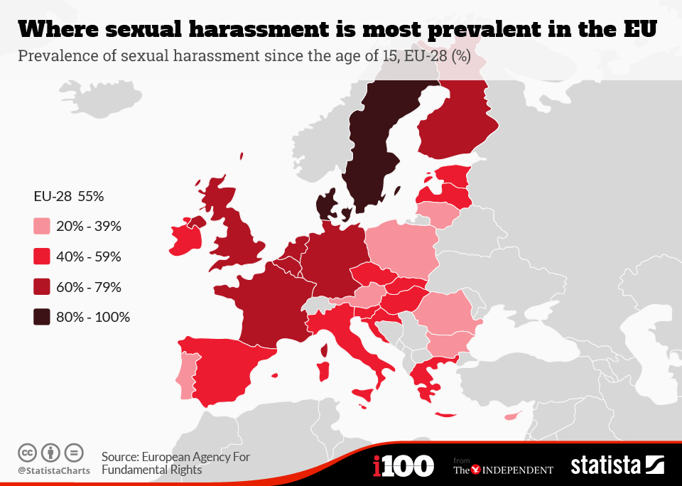 Infographic: Where sexual harassment is most prevalent in the EU   Statista