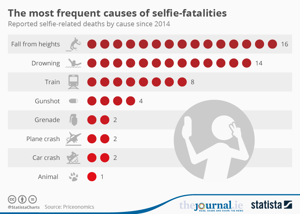 Infographic: The most frequent causes of selfie-fatalities | Statista