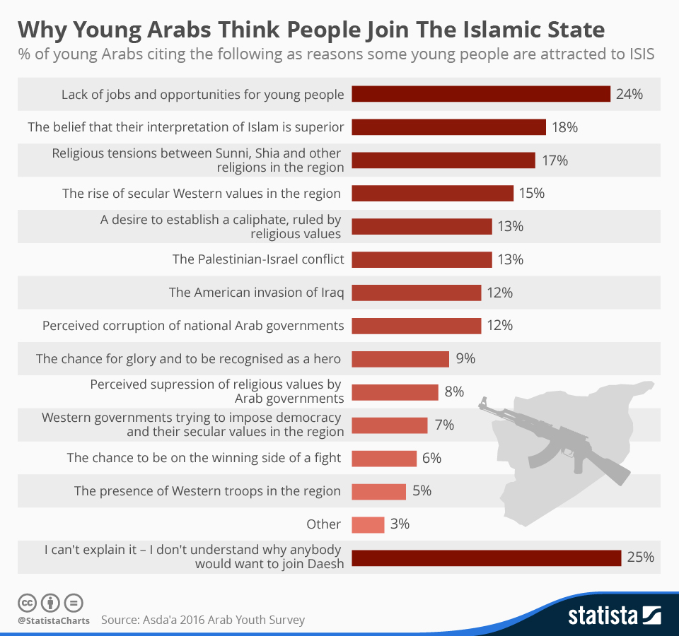 Infographic: Why Young Arabs Think People Join The Islamic State | Statista