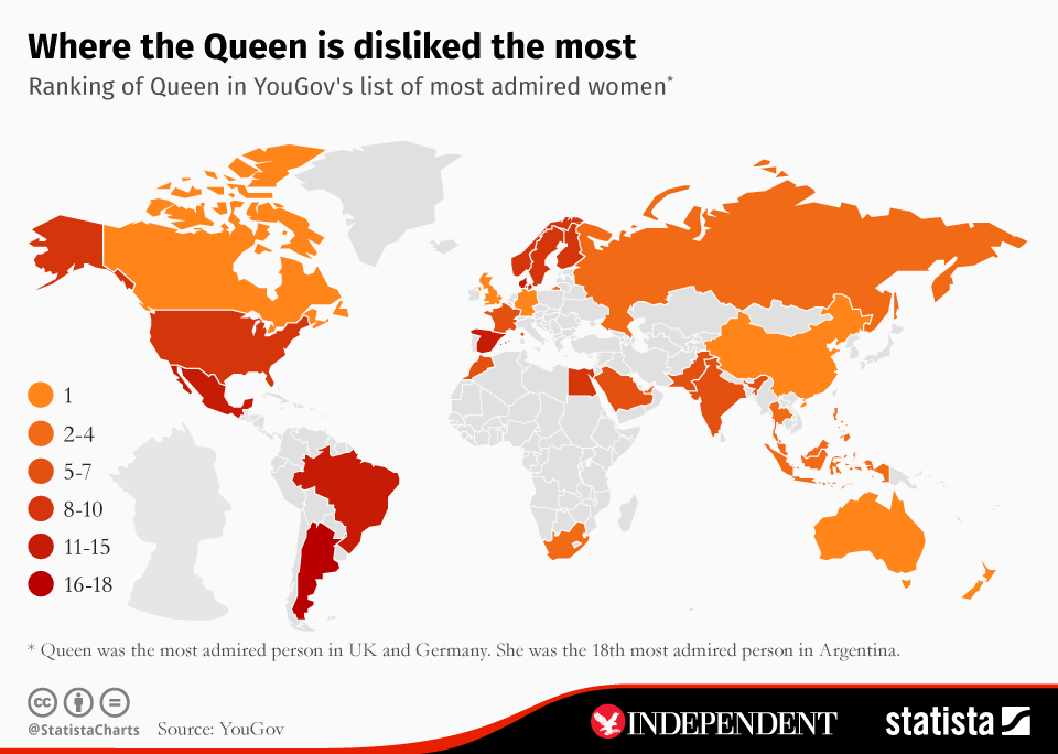 Infographic: Where the Queen is disliked the most | Statista