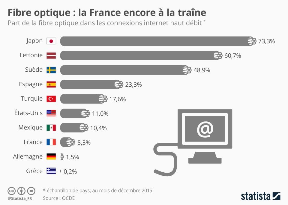 Infographie: Fibre optique : la France encore à la traîne | Statista