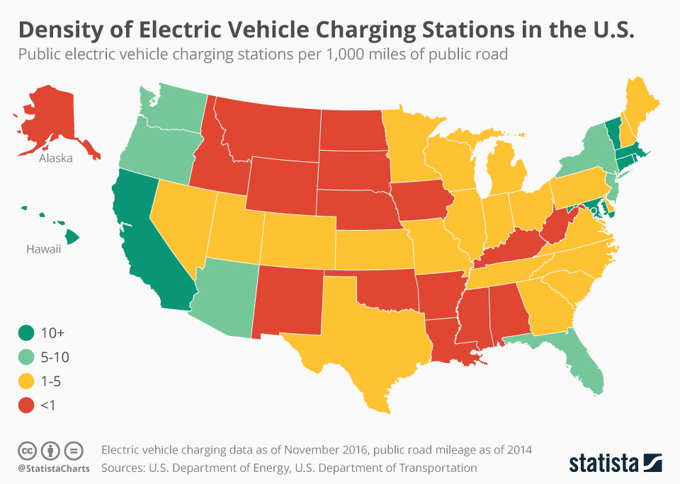 Infographic: Density of Electric Vehicle Charging Stations in the United States | Statista