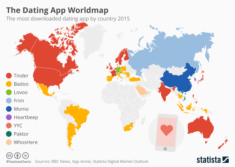 Infographic: The Dating App Worldmap | Statista