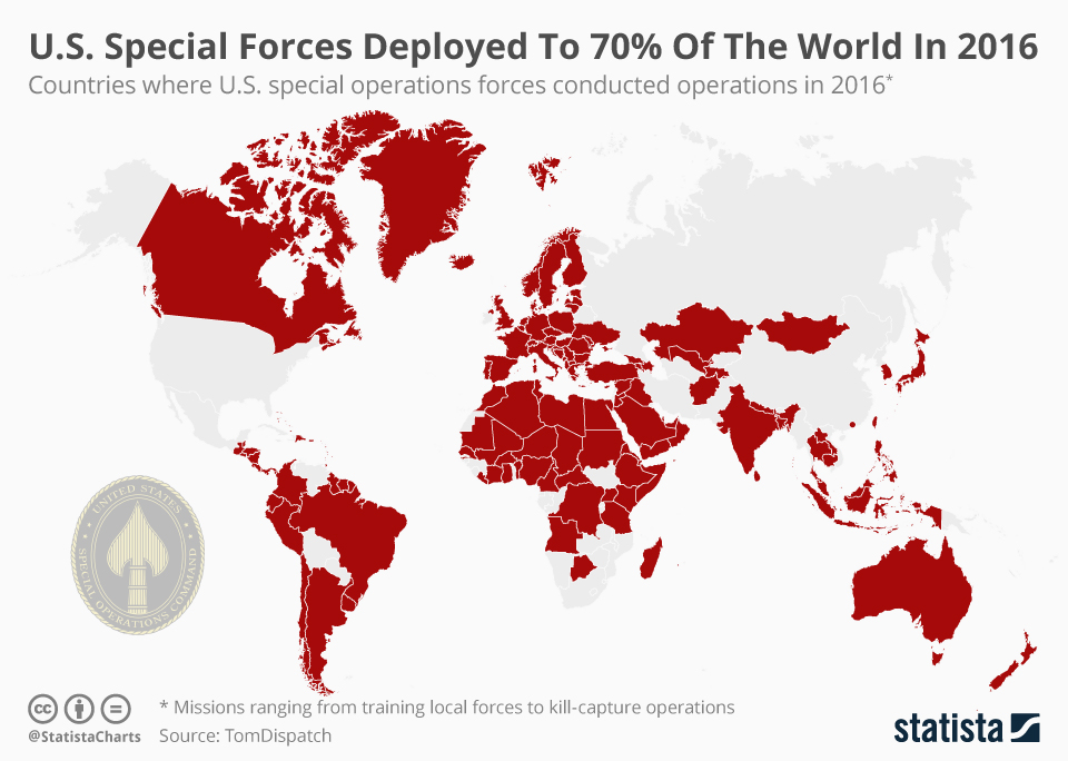 Infographic: U.S. Special Forces Deployed To 70% Of The World In 2016  | Statista