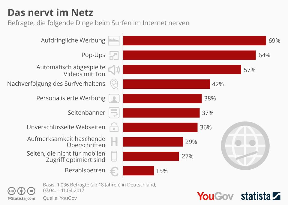 Infografik: Das nervt im Netz | Statista