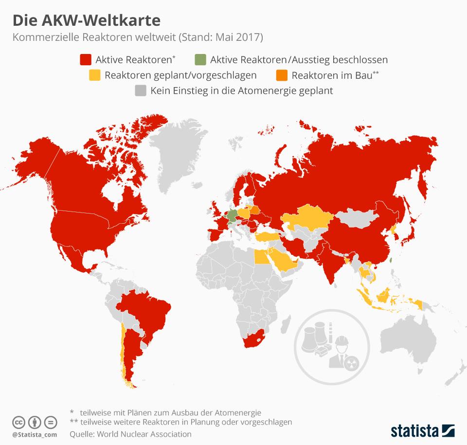 Infografik: Die AKW-Weltkarte | Statista