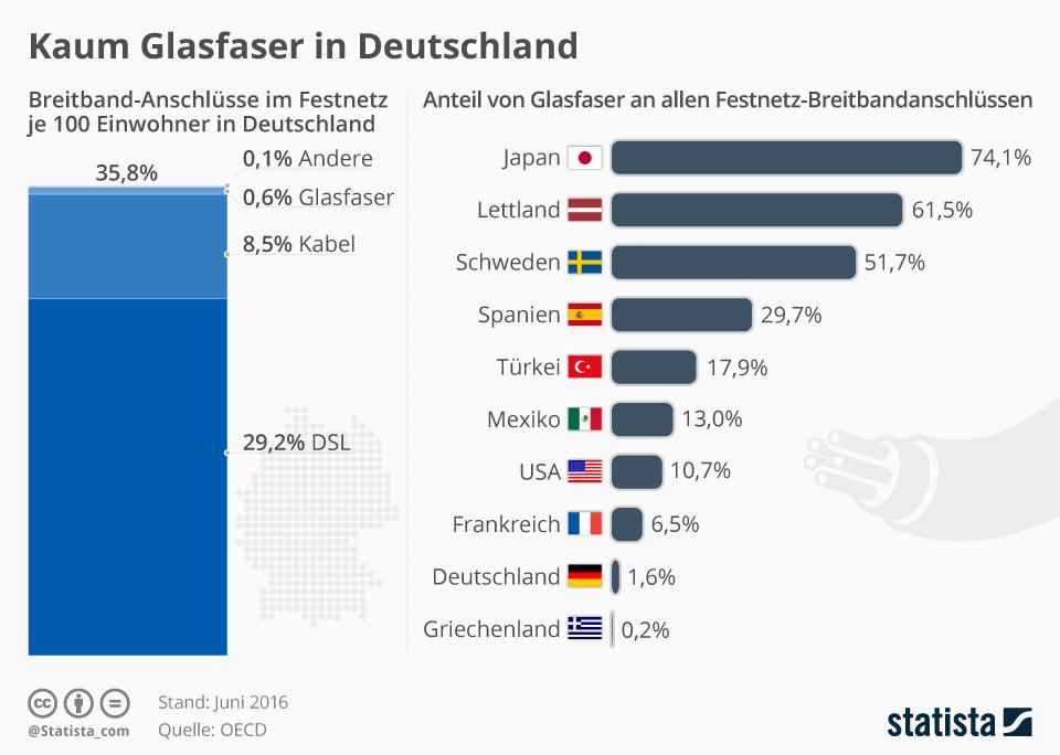 Infografik: Kaum Glasfaser in Deutschland | Statista