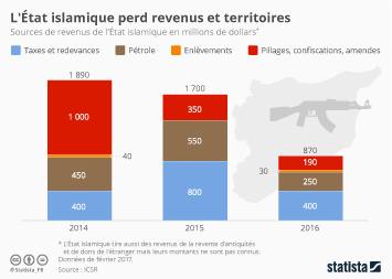 Infographie - L'État islamique perd revenus et territoires