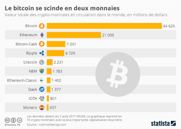 Infographie - Le bitcoin se scinde en deux monnaies