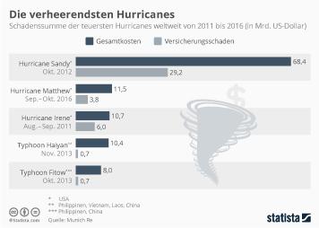 Infografik - Schadenssumme der teuersten Hurricanes weltweit