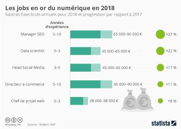 Infographie - Les jobs en or du numérique en 2018