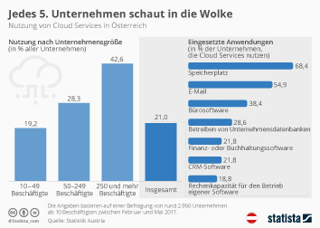 Infografik - Nutzung von Cloud Services in Österreich