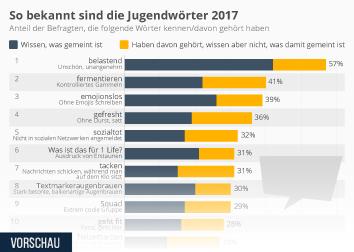 Infografik: So bekannt sind die Jugendwörter 2017 | Statista