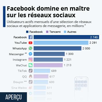 Lien vers Réseaux sociaux et messageries : les services les plus utilisés en 2021 Infographie