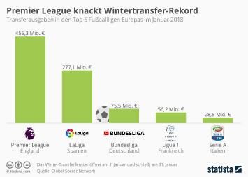 Infografik - Transferausgaben der Top 5 Fussballligen Europas