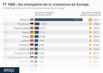 Infographie - FT 1000 : les champions de la croissance en Europe