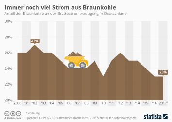 Infografik - Anteil von Braunkohle an der Stromerzeugung in Deutschland