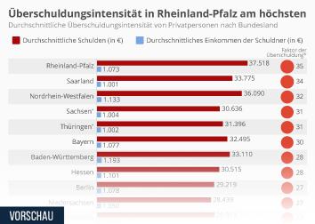 Infografik: Deutsche Schuldner im Schnitt 28 Monatseinkommen tief in den Schulden | Statista