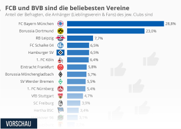 Infografik - die beliebtesten bundesligaclubs