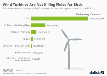 Infographic: Wind Turbines Are Not Killing Fields for Birds | Statista