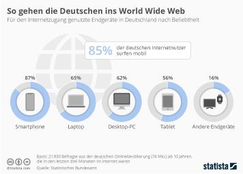 Infografik - Für den Internetzugang genutzte Endgeräte in Deutschland