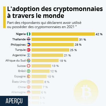 Infographie - consommateurs possedant cryptomonnaies dans le monde