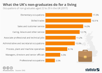 Infographic -  the occupations of non-graduates aged 22 to 29 in the UK