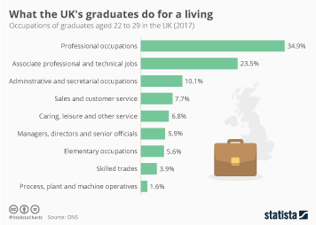 Infographic -  the occupations of graduates aged 22 to 29 in the UK