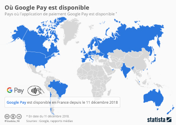 Infographie - disponibilite Google Pay pays