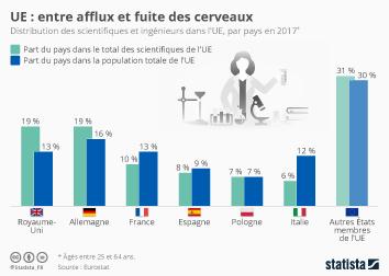 Infographie - afflux et fuite des cerveaux dans union europeenne