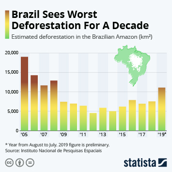 Infographic - estimated deforestation in the Brazilian Amazon
