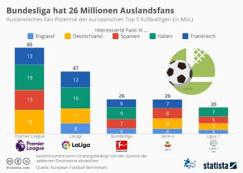 Infografik - Ausländisches Fan-Potential der europäischen Top 5 Fußballligen