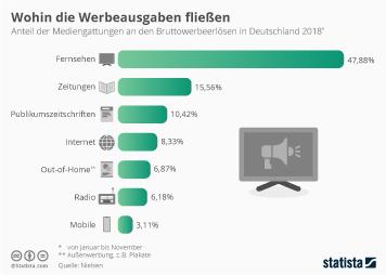 Infografik - Anteile ausgewählter Mediengattungen an den Bruttowerbeerlösen
