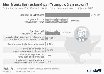 Infographie - etat actuel mur et barrieres frontiere mexicaine trump
