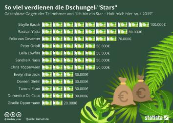 Infografik - Gagen der Dschungelcamp-Teilnehmer