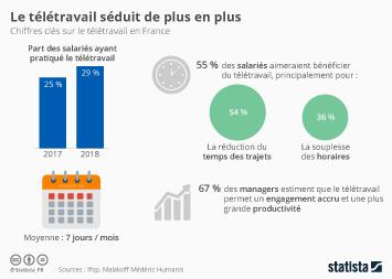Infographie: 29 % des salariés français ont recours au télétravail  | Statista