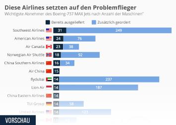 Infografik - Airlines nach Anzahl der Boeing-737 Max