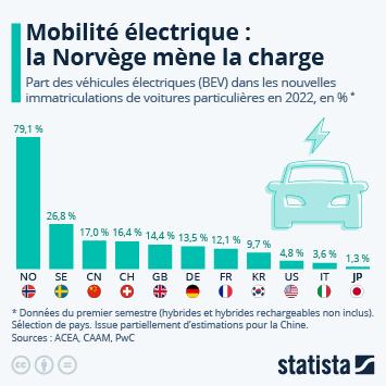 Infographie - pays avec les plus grosses parts de marche des voitures electriques