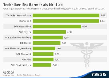 Infografik - Krankenkassen mit den meisten Mitgliedern