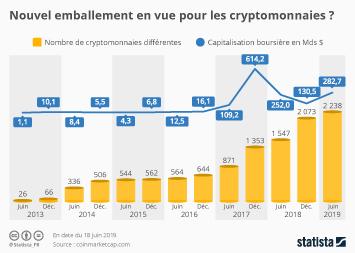 Infographie - nombre de cryptomonnaies differentes et leur capitalisation boursiere