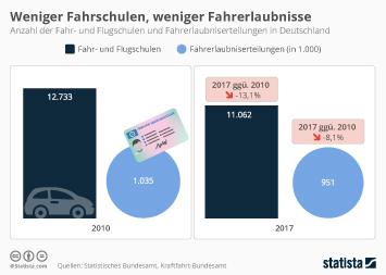 Infografik: Weniger Fahrschulen und Fahrerlaubsnisse   Statista