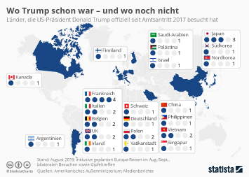 Infografik - Länder weltweit, die Donald Trump schon besucht hat