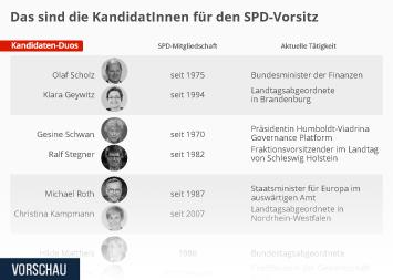 Infografik -  KandidatInnen für den SPD-Parteivorsitz