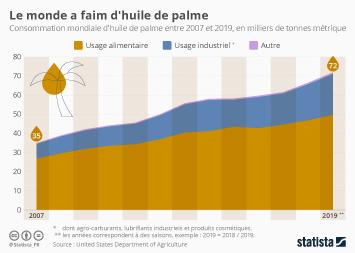 Infographie - consommation mondiale huile de palme et repartition par usage