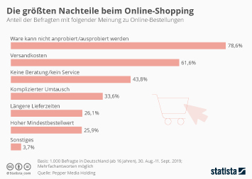Infografik - Umfrage zu den Nachteilen beim Online-Shopping