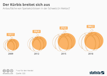 Infografik - Entwicklung der Anbaufläche von Kürbissen in der Schweiz