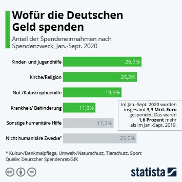 Infografik - Spendeneinnahmen in Deutschland von Privatpersonen nach Zweck