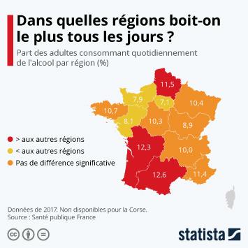 Infographie - consommation quotidienne alcool en france par region