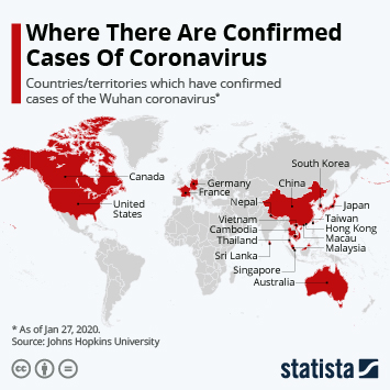 Infographic - countries and territories with cases of the coronavirus